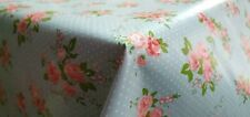 PVC Plastic Vinyl Table Cloth Duck Egg Blue Floral Pink Rose Vintage Polka Dots