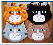 PATTERN - Allie Cats - cute applique mug rug or potholder PATTERN - Susie Shore