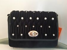 Ladies Designer Fashion Handbag.Black.Pearl/Diamonty.Velvet Look. Fast Delivery.