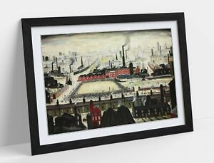 LS LOWRY THE FOOTBALL MATCH -FRAMED ART POSTER PICTURE PRINT ARTWORK- GREEN