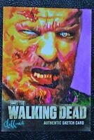 Walking Dead Season 2 Zombie Walker Sketch Art by Chris Hoffman Trading Card CZE