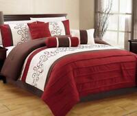 7 Piece Luxury Embroidery Bed in Bag Comforter Set Queen Burgundy/Coffee