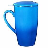Bruntmor Ceramic Tea Infuser Mug With Stainless Steel Infuser 16 Oz Blue