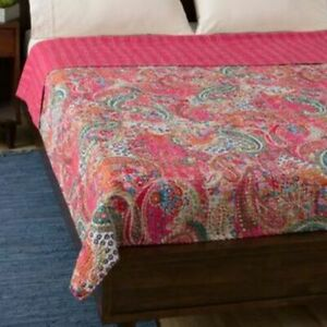 Indian Handmade Twin Cotton Kantha Quilt Paisley Print Throw Blanket Bedspread