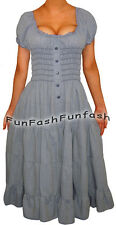 KE9 FUNFASH ROCKABILLY DENIM JEANS BLUE SLIMMING MAXI DRESS NEW Size Large 9 11