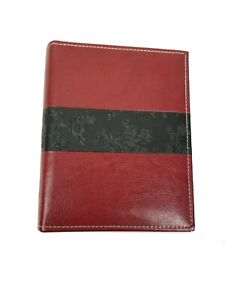 Small Leather Red Black Photo Album Embossed with Flowers