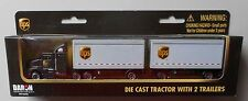"""Ups 8"""" Tractor w Double Trailer Truck Realtoy Daron Toys Diecast 1:87"""