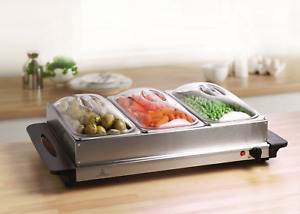 Food Warmer Buffet Electric Server 3 Tray Large Bain Marie Stainless Steel 2.5L