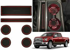 6pc Red Custom Fit Cup Holder Liners For 2015-2016 Ford F-150 New Free Shipping