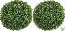 Two 13 inch Artificial Boxwood Topiary Ball Bushes In Outdoor Plant Shrub Flower