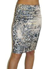 Ladies Stretch Satin Pencil Skirt Animal Leopard Print Party Casual NEW Size 6