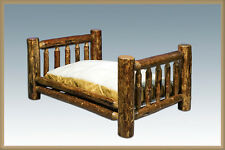 Log Dog Beds for Large Dogs Amish Made Cabin Furniture Raised Big Pet Bed