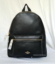 NWT COACH Charlie Black Leather Backpack Large Laptop Charles Book Bag F38288