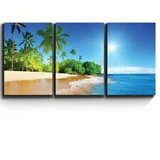 """3 Piece Canvas Print - Palm trees on tropical beach vacation - 24""""x36""""x3 Panels"""