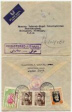 SAIKALI ENVELOPE REGISTERED AIRMAIL HANDSTAMP to USA... 1953