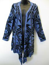 Sweater Fits M L XL Cardigan Black Blue Curved Hem Open Front NWT Za216