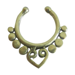 Nose Ring Fake Septum Tribal  Non Pierced Gold Brass Pure Silver Sterling 92.5