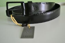 Canali Men's Black Leather   Double Stitching Belt  New Made in Italy Size 30