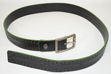Tommy Bahama Java Leather Belt Black With Green Edge Perforated Men's 38
