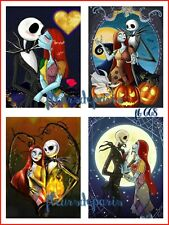 Vintage Jack & Sally Nightmare before Christmas 4 Prints on Fabric FB 668