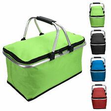 Folding Picnic Basket Bag Travel Storage Insulated Cooler Shopping Bag Lunch Bag