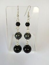 Black Onyx And Haematite silver plated earrings