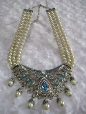 "HEIDI DAUS ""Good To Be Queen"" (Aqua) 3-Row Beaded Collar Necklace (orig.$329.95)"