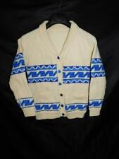 Vintage S Ivory White Ocean Blue Stripe Cowichan Cardigan Sweater Shawl Collar