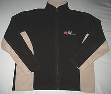 eBay (old logo) UK Black & Tan Fleece Zipper Jacket Size Small (really is Large)