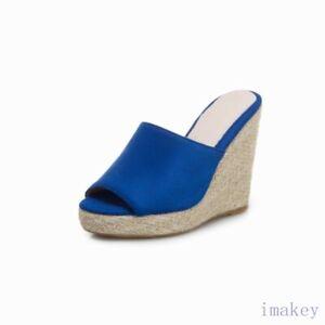 Women's Ladies Open Toe Slip On High Wedge Heels Espadrilles Mules Sandals Shoes
