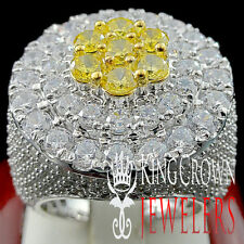 REAL WHITE GOLD SILVER MENS BIG YELLOW CITRIN LAB DIAMOND HUGE JUMBO RING BAND