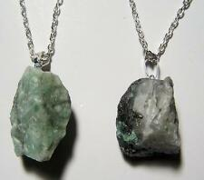 EMERALD ROUGH NATURAL MINERAL STONE PENDANT 18in SILVER LINK CHAIN NECKLACE