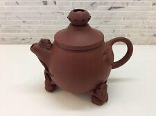 Chinese Yixing Zisha Miniature Clay Frog Lizard Teapot Rattling Ball Signed