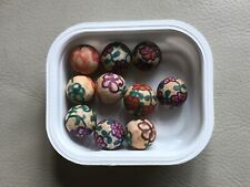 VINTAGE HAND PAINTED CLAY MARBLES LOT OF 10