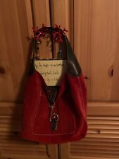 Rare Tomato Red Suede Dooney & Bourke Hobo Purse Bag Logo Lock