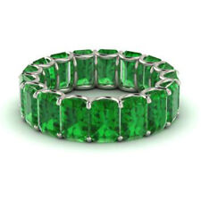 3.40 Carat Real Emerald Gemstone Eternity Band 950 Platinum Ring Size L M N O P
