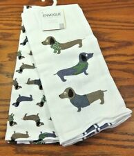 Set of 2 Dachshund Doxie Sausage Dog Envogue Green Hand Dish Towels With Ribbon