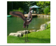 Metal Bronze Crane Statue Sculpture Garden Patio Yard Lawn Art Heron Bird NEW