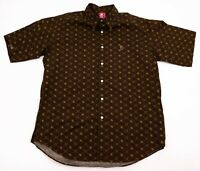 BAPE A Bathing Ape VTG Men's XL Brown Bape Star Short Sleeve Button Front Shirt
