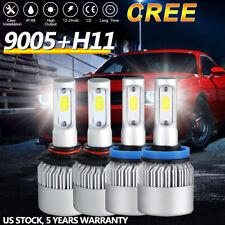 2 Pair COB 9005+H11 LED Headlight Bulb High Low Beam Kit 6000K White 600000LM US