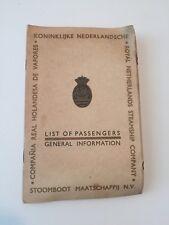 1937 Passenger List General Info Royal Netherlands Steamship Company Curaçao