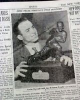 OHIO STATE BUCKEYES Les Horvath Wins Heisman Trophy 1944 World War II Newspaper