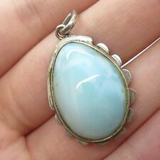 Vtg 925 Sterling Silver Large Real Larimar Gemstone Handmade Drop Pendant