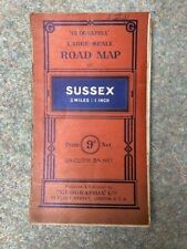 Old Geographia Road Map Of Sussex- 1920s? 3 Miles To 1 Inch some tears 9d