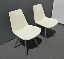 Vintage Contemporary Style White Leather ACCENT CHAIRS w Metal Peg Legs Italy