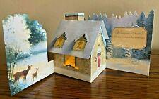 Hallmark Thomas Kinkade Displayable Light-up, Pop-Up Christmas Greeting Card New