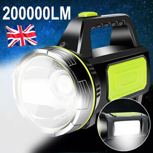 200000LM LED Searchlight Spotlight USB Rechargeable Hand Torch Work Light Lamp
