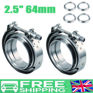 """2x2.5"""" V Band Set Heavy Duty Clamp Kit Flange Set 2 join Exhaust Pipe"""