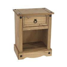 Corona Pine Bedside Cabinet 1 Drawer Bedroom Side Table Nightstand Waxed Wood