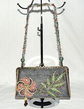Mary Frances Steel Gray Multi Color Bead Strap Flower & Tassel Shoulder Bag NWOT